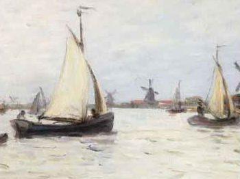 """Bateaux en Hollande pres de Zaandam, 1871"" Claude Monet (1840-1926) Glynn Vivian Art Gallery"