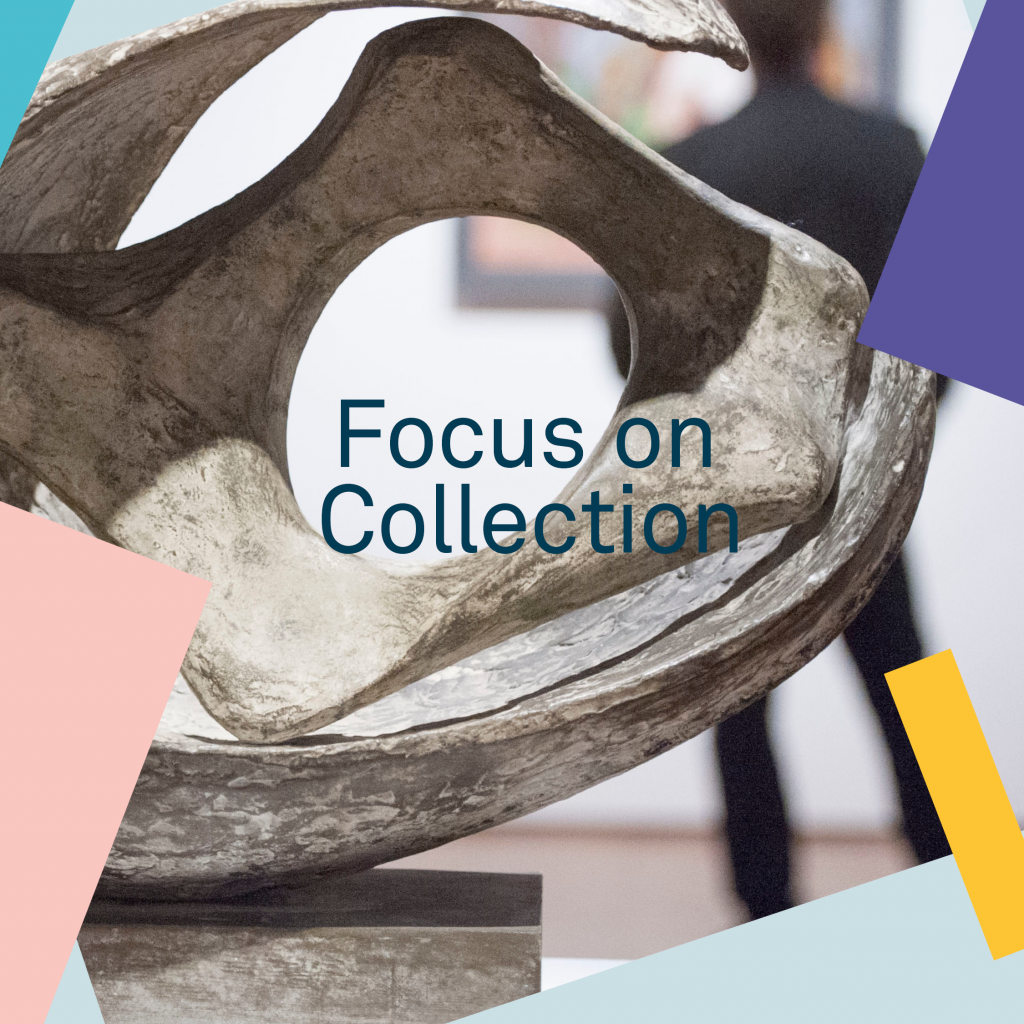 The image is of a closeup of a Barbara Hepworth scuplture with the words 'Focus on Collection' overlaid
