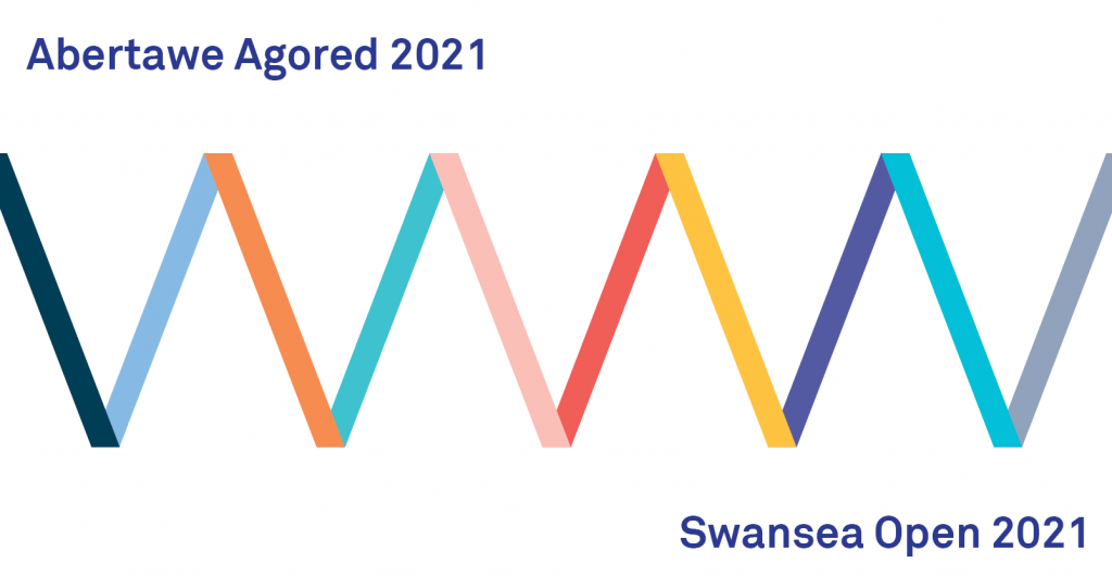 Colourful zigzag with text Abertawe Agored - SwanseaOpen 2021